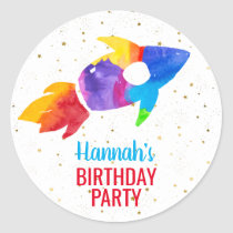 Birthday Rainbow Watercolor Rocket Outer Space Classic Round Sticker
