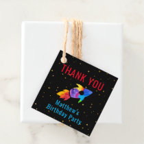 Birthday Rainbow Watercolor Rocket Outer Space Favor Tags