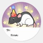 Birthday Rat Gift Tags Round Stickers