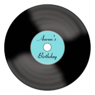 """Birthday Record Invitations 5.25"""" Square Invitation Card"""