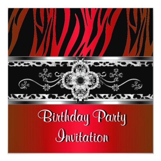 Birthday Red Silver Black White Zebra Leopard 5.25x5.25 Square Paper Invitation Card