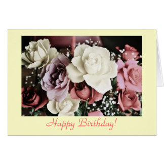 Birthday rose bouquet greeting card
