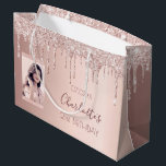 """Birthday rose gold glitter custom photo pink large gift bag<br><div class=""""desc"""">A gift bag for a girly and glamorous 21st (or any age) birthday. A rose gold background with an elegant faux rose gold glitter drips, paint drip look. The text: The name is written in dark rose gold with a modern hand lettered style script. Tempate for a date and age...</div>"""