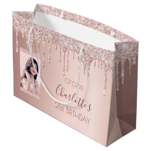 Birthday rose gold glitter custom photo pink large gift bag
