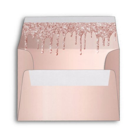 Birthday rose gold glitter drips envelope
