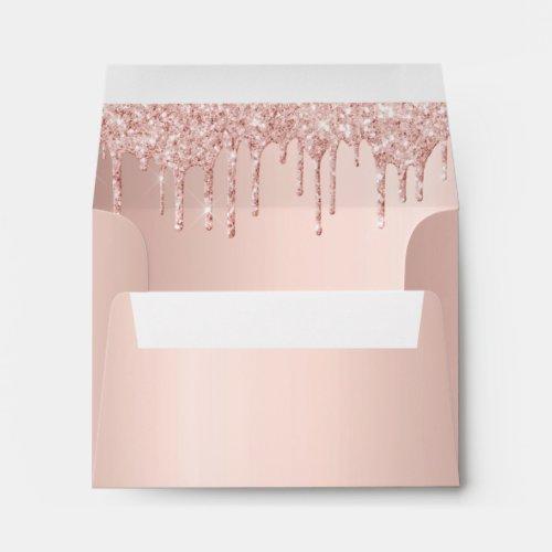 Birthday rose gold glitter drips envelope