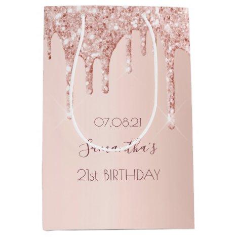 Birthday rose gold glitter drips luxury girly medium gift bag