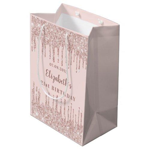 Birthday rose gold glitter drips monogram luxury medium gift bag