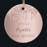 "Birthday rose gold glitter drips pink 50 ceramic ornament<br><div class=""desc"">An ornament for a girly and glamorous 50th (or any age) birthday. A faux rose gold background with an elegant faux rose gold glitter drips, paint drip look. The text: The name is written in dark rose gold with a modern hand lettered style script. Tempate for a date and age...</div>"