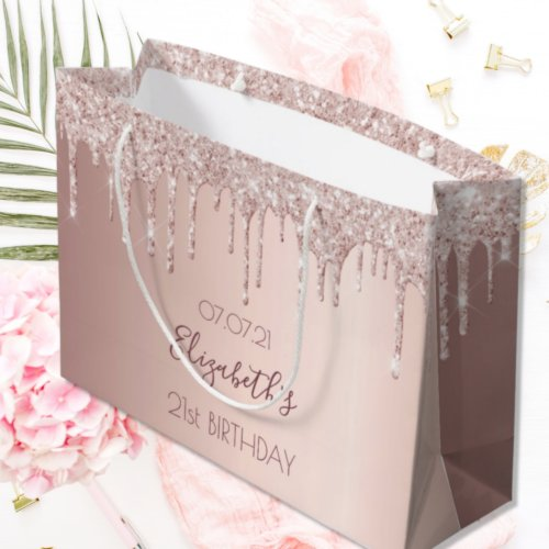 Birthday rose gold glitter drips pink girly large gift bag