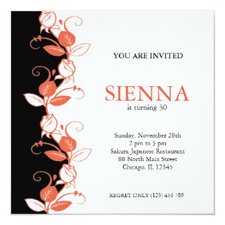 "Birthday Roses (Coral) 5.25"" Square Invitation Card"