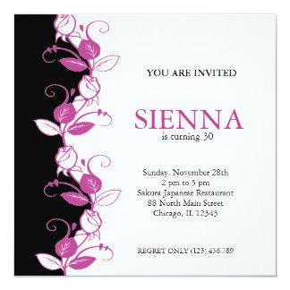 """Birthday Roses (Plum) 5.25"""" Square Invitation Card"""