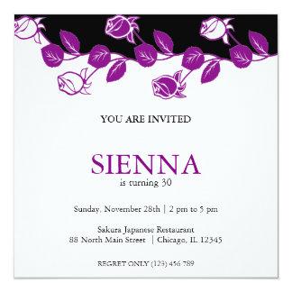 "Birthday Roses (Purple) 5.25"" Square Invitation Card"