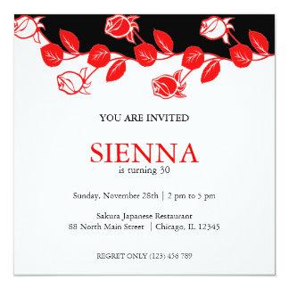"Birthday Roses (Red) 5.25"" Square Invitation Card"