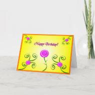 Birthday Roses & Swirls Card card