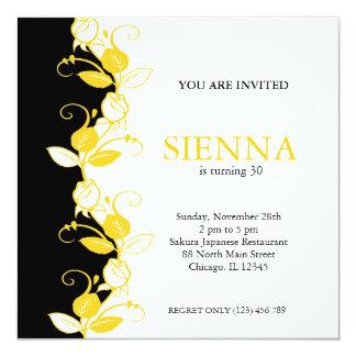 "Birthday Roses (Yellow) 5.25"" Square Invitation Card"