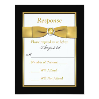 Birthday   RSVP   PRINTED RIBBON   Black and Gold 4.25x5.5 Paper Invitation Card