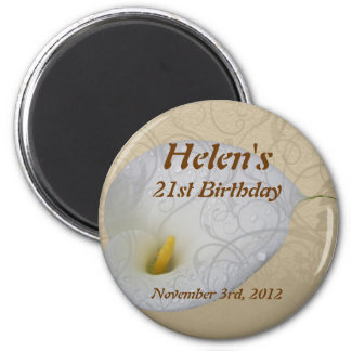 Birthday save the date magnet, dew drop lily with  2 inch round magnet