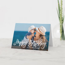 Birthday Script Overlay Photo Card for Mom