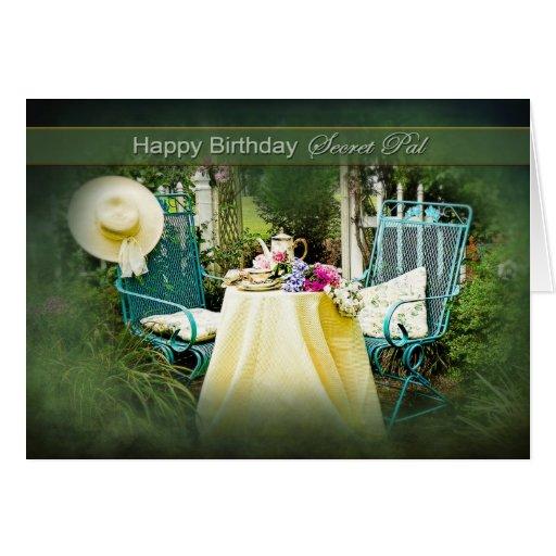 BIRTHDAY - SECRET PAL - ENGLISH COTTAGE GARDEN CARD | Zazzle
