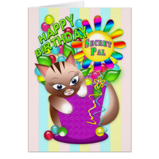 Birthday - Secret Pal - Kitty Cat Celebrating Card