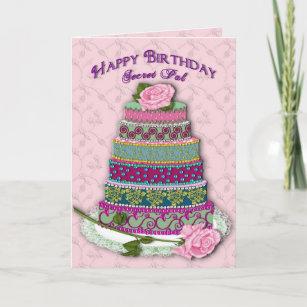 BIRTHDAY - SECRET PAL - MULTI TIER DECORATED CAKE CARD