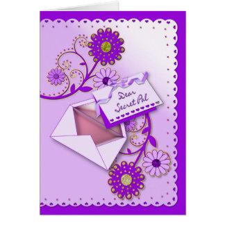 Birthday - Secret Pal - Purple/Flowers/Letter Card