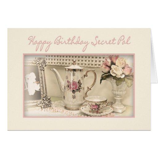 BIRTHDAY - SECRET PAL - Vintage Tea Set Greeting Card