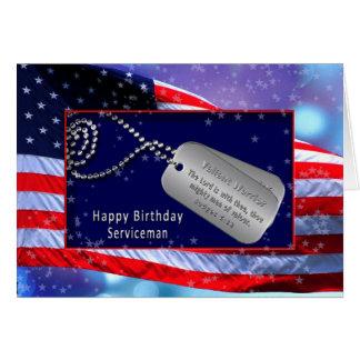 BIRTHDAY/SERVICEMAN US FLAG -DOG/TAGS -BIBLE VERSE GREETING CARD