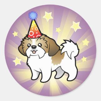 Birthday Shih Tzu (puppy cut) Classic Round Sticker