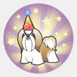 Birthday Shih Tzu (show cut) Round Sticker