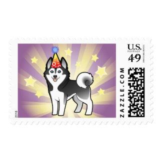 Birthday Siberian Husky / Alaskan Malamute Stamp