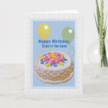 """Birthday, Sister-in-law, Cake and Balloons Card<br><div class=""""desc"""">This decorated cake and yellow and green balloons make a festive cover for this happy birthday greeting card.  Feel free to change the inside verse to suite your needs.</div>"""