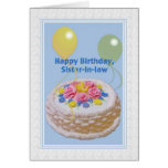 Birthday, Sister-in-law, Cake and Balloons Card