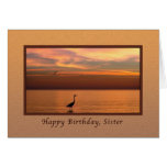Birthday,  Sister, Ocean View at Sunset Card