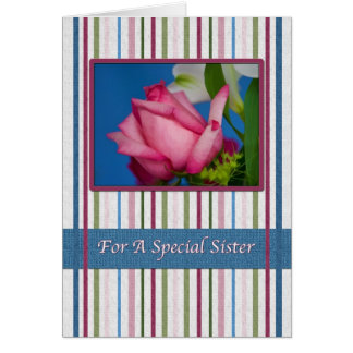 Birthday, Sister, Red Rose, Stripes Greeting Card