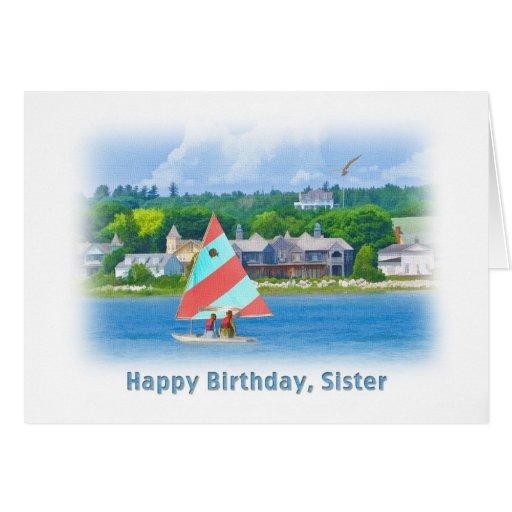 Birthday, Sister, Sailboat on a Lake,  Nautical Greeting Card