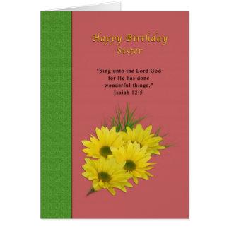 Birthday, Sister, Yellow Daisies, Religious Card