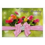 Birthday - Sister - Zinnias Greeting Card