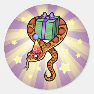 Birthday Snake Classic Round Sticker