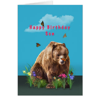 Birthday, Son,  Bear and Butterflies Greeting Cards
