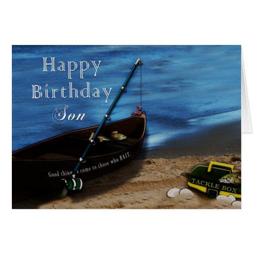 Birthday son fishing lake card zazzle for Fishing birthday wishes