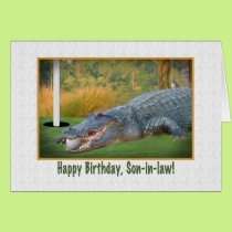 Birthday, Son-in-law, Golf, Alligator Card