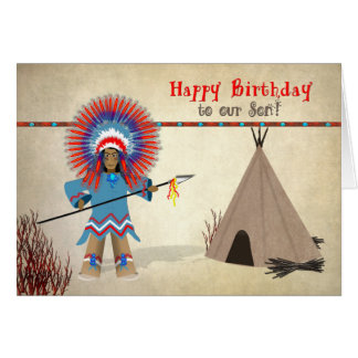 Birthday  Son- Native Indian with tepee - Fun Card