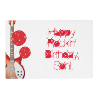 Birthday, Son, paper placemat, guitar, red, white. Placemat