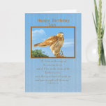 """Birthday, Son,  Rough-legged Hawk Card<br><div class=""""desc"""">The Rough-legged Hawk is known for being able to precariously perch on the slimmest branch.  He makes a wonderful birthday greeting card.  Feel free to change the inside verse to suit your needs.</div>"""