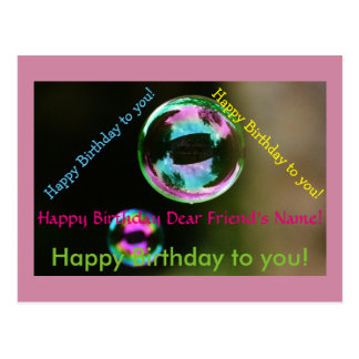 Birthday Song Bubbles Customizable Postcard