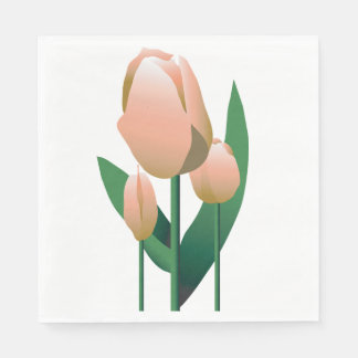 Birthday Spring Pink Tulip Party Napkin
