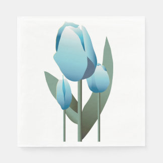 Birthday Spring Turquoise Tulip Party Napkin