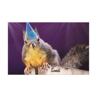 Birthday Squirrel Photo Canvas Print
